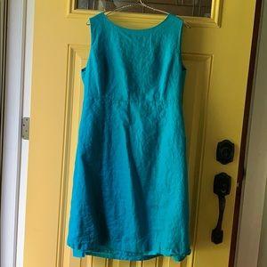 Talbot's aqua linen dress with fun button detail